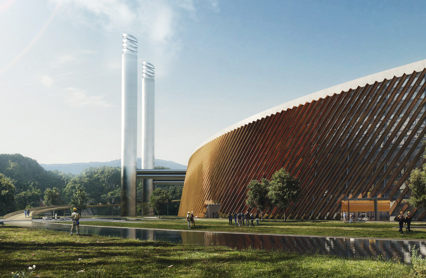 The world's largest waste to energy power plant, combined with education, exhibition and research facilities - rendering