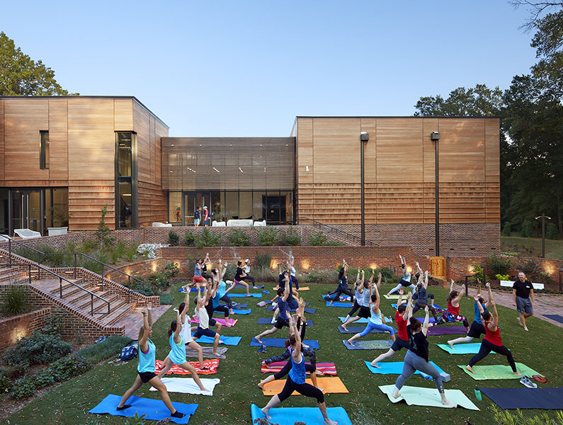 Yoga in front of Gregg Museum