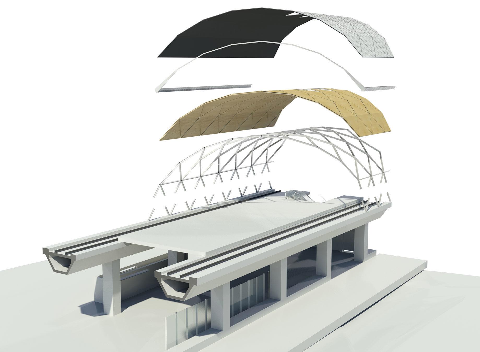 Composição axonometric que mostra componentes do telhado das estações.