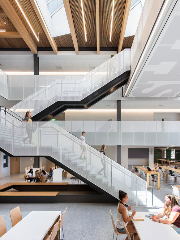 View of communicating stairs in dining commons.